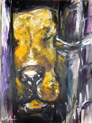 dog, shelter, pit bull, art, painting