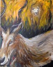 lion, art, painting, gazelle,