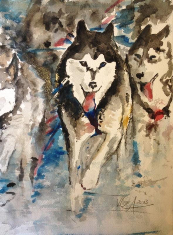 "Mush!, watercolor on paper. 9"" x 12"", 2013"