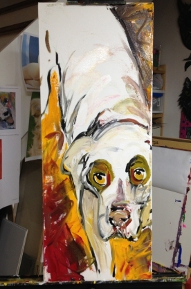 """""""Shelter Me: Hope"""", Acrylic on canvas (in progress), 16"""" x 30"""", 2012 $480"""