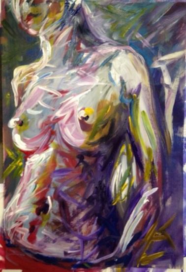 """""""Sunday Morning,"""" Acrylic on paper, 12 x 18, 2012, $200"""