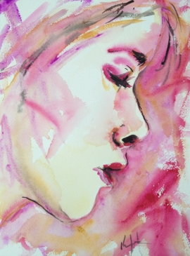 "Thinking of Aphrodite, 9"" x 11"" Watercolor on paper, 2012"