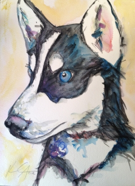"Puppy Breath 1, Watercolor and colored pencil on paper, 9' x 12"", 2012"