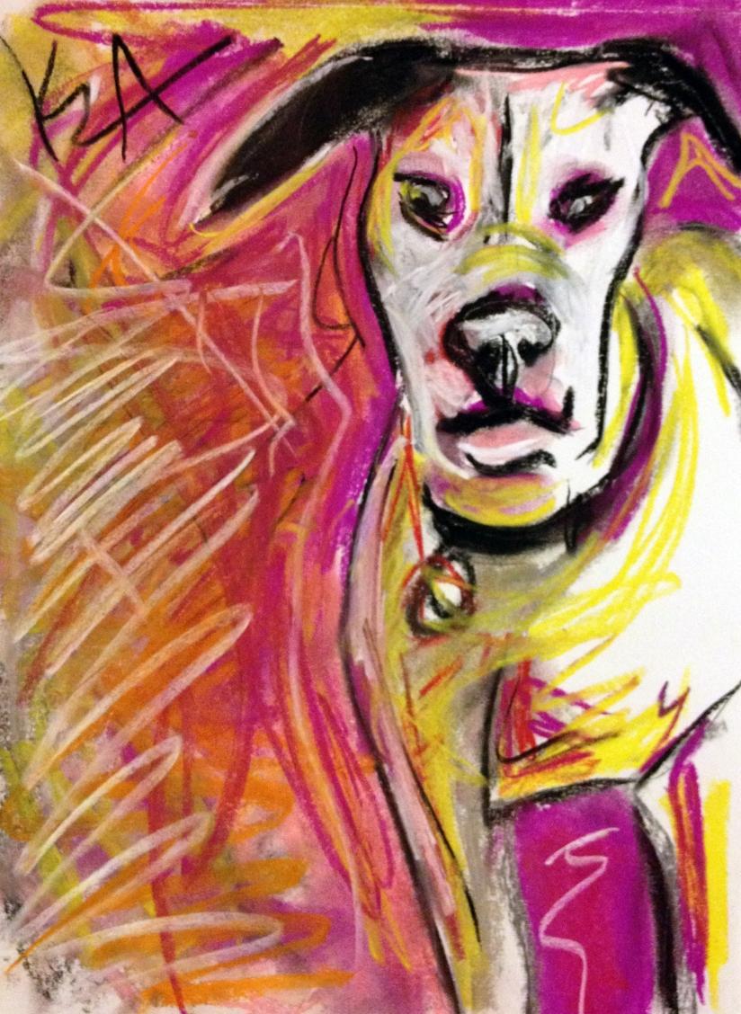 Pit bull, abstract, pastel, dog, drawing, art