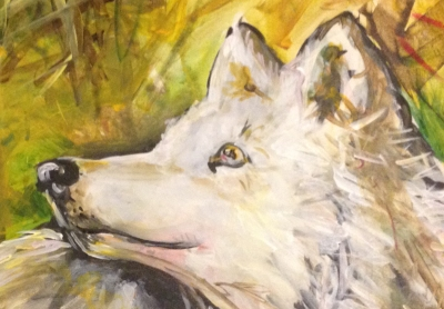 arctic wolf painting  to support husky rescue