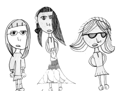 cartoon drawing of teenage girls