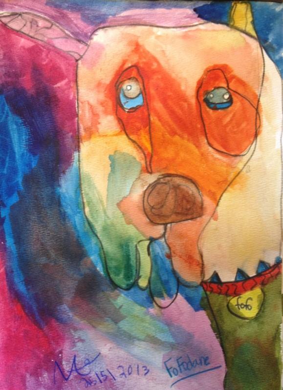 "Foo Foo Dane. watercolor on paper, 9"" x 12"", 2013"