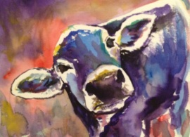 """Purple Cow,"" Watercolor on paper, 9"" x 12"", 2013 $100 