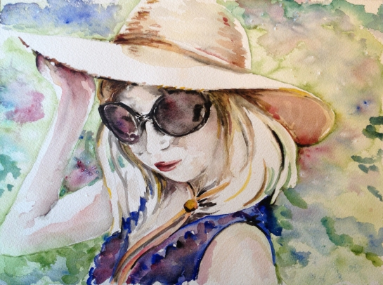 Watercolor Portrait of a Pretty Girl