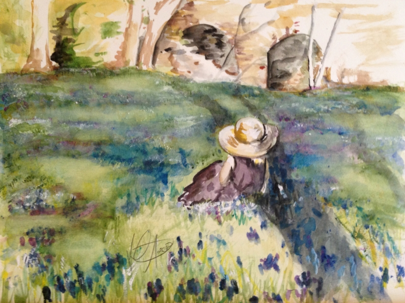 Watercolor Painting of a Little Girl in a Field of Flowers