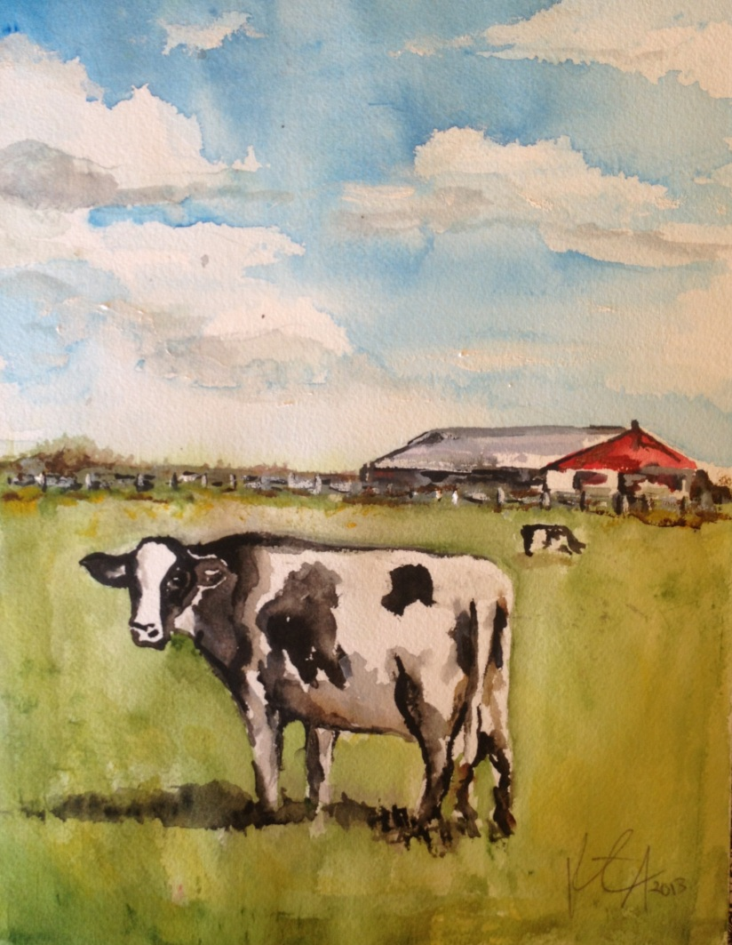 My First Watercolor Cow...and Some Clouds
