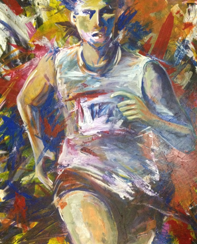 Painting of a marathon runner