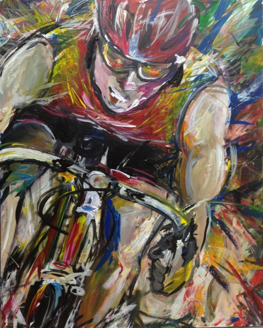 Acrylic painting of a cyclist