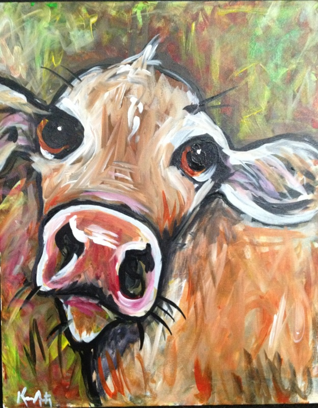 Acrylic painting f a baby cow