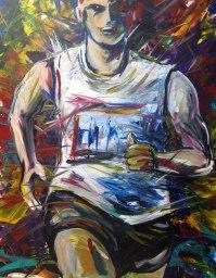 "Ironman1:R2 Acrylic on canvas 24"" x 30"" 2013"