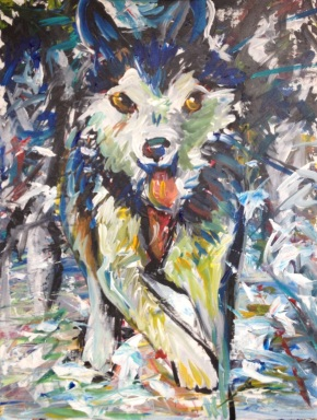 """Iron Dog: The Runner,"" Acrylic on canvas board16"" x 20"" 2013, $320"