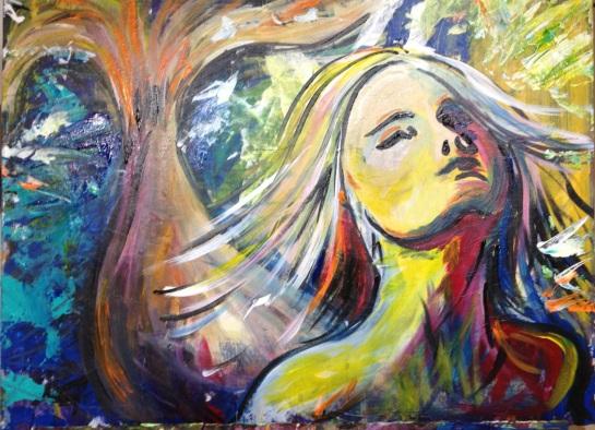 "Nic's Little Mermaid Acrylic on canvas board 24"" x 18"" 2013"