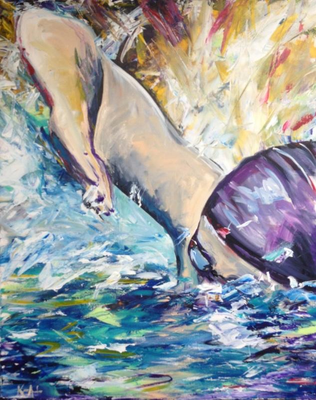 "Iron Man 3: The Swimmer Acrylic on canvas 24"" x 30"" 2013"