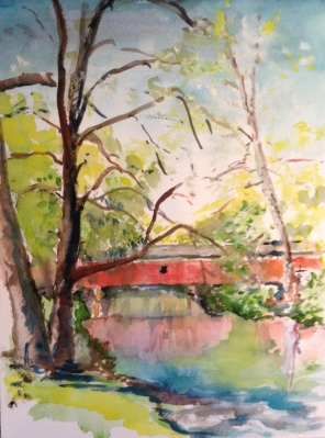 """""""The Crossing,"""" watercolor on paper, 9"""" x 12"""", 2013, $100"""
