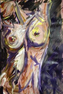 """Drunken Daphne,"" Acrylic on paper, 12 x 18, 2012, $200"