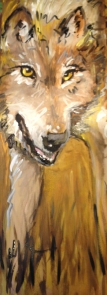 """""""Wolf in the Wood,"""" Acrylic on wood panel, 2012, $150"""