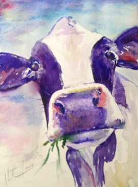 """I Never Saw a Purple Cow"" Watercolor on paper, 9"" x 11"", 2014, $100"