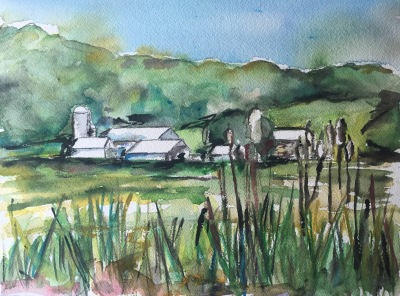 """Oysterdale Farm"" Watercolor on Paper, 9"" x 12"" $100 