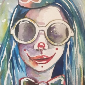 """Nikki Pagliaccio"" watercolor on paper, 9"" x 12"", SOLD"