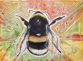 """Bee Cause 2"" Watercolor and ink on Paper, 9"" x 12"" 2016, $100"