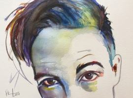 """Brendon"" watercolor on paper, 9"" x 12"", SOLD"