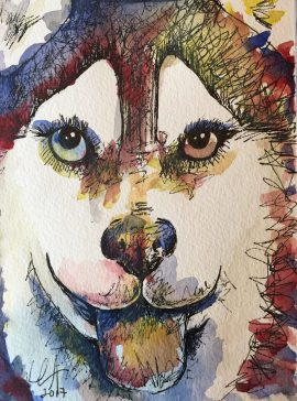 """Husky Love"" Watercolor and ink on paper, 6"" x 8"", $40"