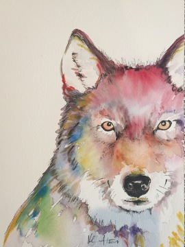 """Vernal Wolf"" watercolor on paper, 9"" x 12"", $100"