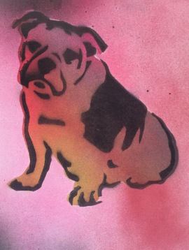 Bulldog Pride 3; Spray paint on paper, 9 x 12, $20