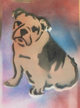 Bulldog Pride 4; Spray paint on paper, 9 x 12, $20