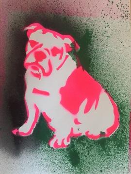 Bulldog Pride 5; Spray paint on paper, 9 x 12, $20