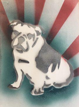 Bulldog Pride 8; Spray paint on paper, 9 x 12, $20
