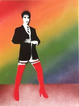 Get Kinky 3; spray paint on paper, 9 x 12, $20