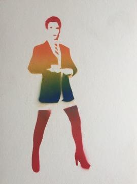 Get Kinky 2; spray paint on paper, 9 x 12, $20