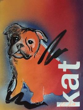 Bulldog Pride 1; Spray paint on paper, 9 x 12, $20