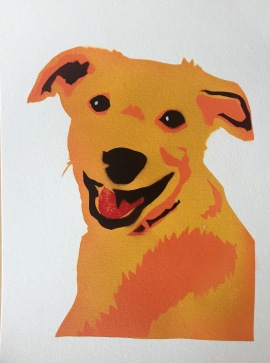Yellow dog 1; Spray paint on paper, 9 x 12, SOLD