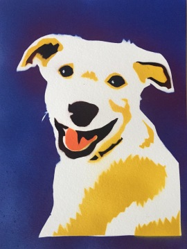 Yellow dog 2; Spray paint on paper, 9 x 12, SOLD