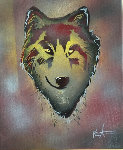 Wolf Pop 1; Spray paint and acrylic pen on stretched canvas, 11 x 14, $50