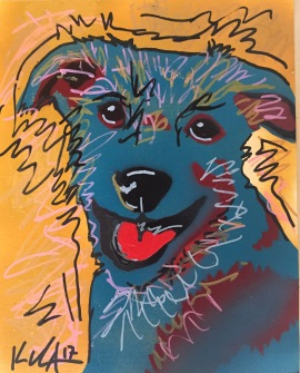 Blue dog 1; Spray paint and acrylic pen on paper, 9 x 12, $20