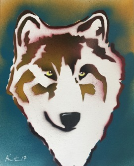 """Wolf Pop on Paper; Spray paint and acrylic pen on paper, 9"""" x 12"""", $20"""