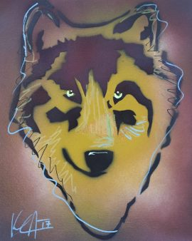 "Wolf Pop on Paper; Spray paint and acrylic pen on paper, 9"" x 12"", $20"