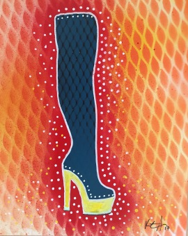 If The Shoe Fits ... be Fabulous 2; spray paint and acrylic pen on paper, 9 x 12, $20
