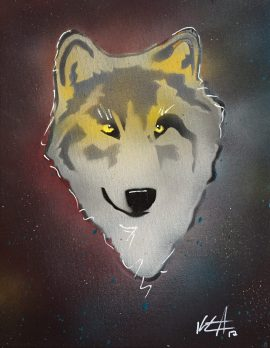 Wolf Pop 3; Spray paint and acrylic pen on stretched canvas, 11 x 14, $50