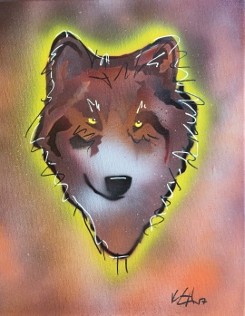 Wolf Pop 2; Spray paint and acrylic pen on stretched canvas, 11 x 14, $50
