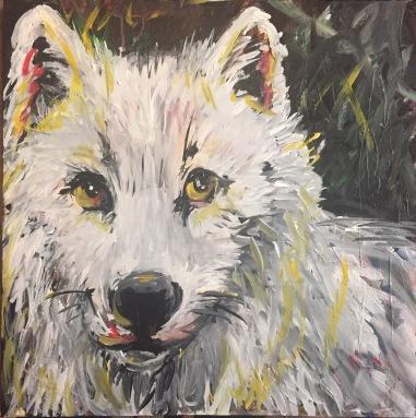 "Sunshine; Acrylic on stretched canvas, 24"" x 24"", 450"
