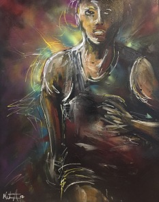"""Personal Best 4; Acrylic on stretched canvas, 24"""" x 30"""", $750"""